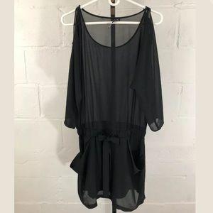 Anthropologie Potters Pot Black Sheer Dress